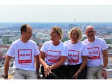 Marcus Scholz, Jenny Persson, Nina Ulvinen och Martin Åkesson. Medlemmar i Hotellgruppen. Fotograf Johanna Ottosson, Clarion Malmö Live