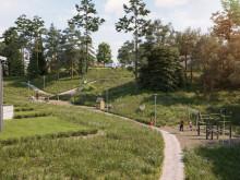 Illustration av kommande lekpark i området, BoKlok Lillgården i Mariefred.