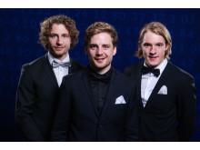 Sebastian Samuelsson, Peppe Femling och Jesper Nelin poserar för porträtt