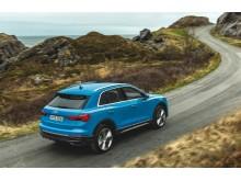 Audi Q3 (turboblå) dynamisk bagfra
