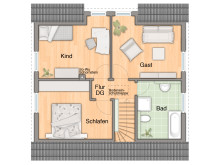 """Grundriss Dachgeschoss des Massivhaus """"Flair 113"""""""