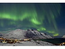 Nordlicht über Ersfjord bei Tromsø