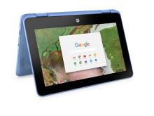 HP Chrome x360 11 blue rear facing