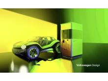 Den mobila snabbladdningsstationen kan placeras var som helst och ladda alla typer av eldrivna bilar, såsom ID. BUGGY.