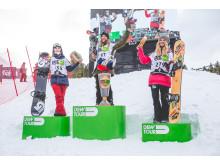 Pallen i slopestyle Dew Tour. Silje Norendal på tredje. Fotocred: Sani Alibabic