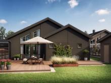 Kv Hällmarken - 3D-bild av kedjehusen i 1-plan