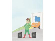 "Superhjälten Fu-Ture i OKQ8:s barnbok ""Fu-Ture Uppdrag rent vatten"""