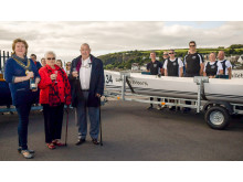 Mayor Cllr Maureen Morrow, Jean and John Kelly, former owners of the Golden Dawn café with the club's new boat