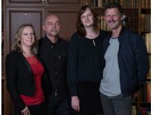 Gruppbild 1 på författarna i Writers Room 2018, från vänster: Felicia Welander, Gunnar Svensén, Karin Janson, Magnus Abrahamsson. Foto: Oskar Eklind