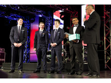 Kristian Thomas, Sam Oldham and Max Whitlock present One-to-Watch Award to Courtney Tulloch at SportsBall 2012
