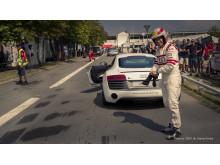 Klar til Race for Riget med Tom Kristensen i Audi R8 ved Copenhagen Historic Grand Prix 2014 (foto af Bjarne Bredal)