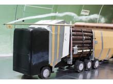 Aerodynamiska lastbilar testas i vindtunnel