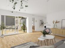 Brf Längtan - 3D-bild av vardagsrum och uteplats