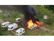 Brann i campingvogn