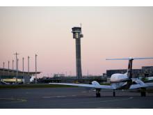 Solnedgang på Oslo Lufthavn