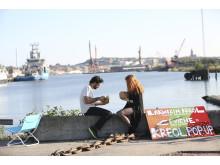 Aktiviteter i Jubileumsparken Frihamnen 2014 - Picknick vid playan