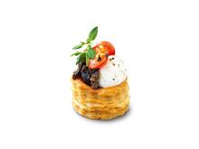 Zeta vol-au-vent med mozzarella, tapenade, timjan och tomat