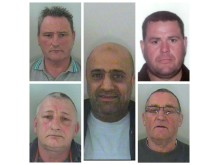 Members of the criminal network (clockwise from left to right) Wayne Brown, Lee Foster, Keith Allen, James Willmott and Iqbal Haji (centre)