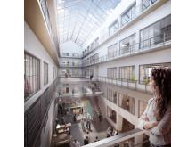 Atrium i Westerdals Oslo ACT sitt høyskolebygg i Chr. Krohgs gate 32