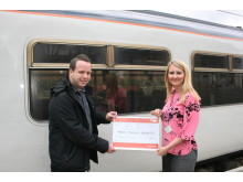 Just the ticket - Caron Hooper of Keech Hospice Care is presented with a donation of over £6,600 at Thameslink's Luton station by Train Services Manager Ant Yandell