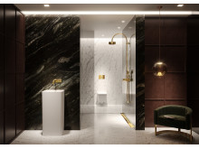 Trend No. 3: Gold - TECEsquare flush plate and the TECEdrainprofile shower channel