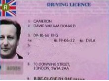 David Cameron fake license