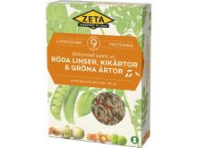 Zeta Risformad pasta av röda linser, kikärtor & gröna ärtor