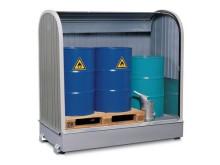 Spillskydd för förvaring av oljefat utomhus
