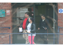 CEN 12 13 Julius Pesta and Radoslav Kaleja outside HMRC Enquiry Office Nottingham with Magdalena Ferkova - 1
