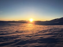 Solnedgang på Dreggfjellet.
