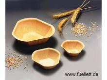 Füllett, aus Getreidemehl gebackene essbare Schalen als Alternative zu Brotschalen, Waffelschalen & Co.
