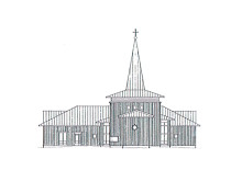 Arkitektskiss av Krokoms nya kyrka