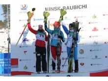 Ingrid Landmark Tandrevold på pallen etter normalprogram ungdom kvinner, Junior-VM, Minsk