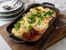 Vegetarisk lasagne med basilikaricotta receptbild