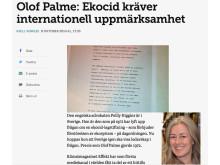 Polly Higgins och Olof Palme menar att ekocidlagstiftning är ett nödvändigt verktyg för omställning till hållbarhet