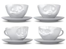 Kaffekoppar med ansiktsuttryck