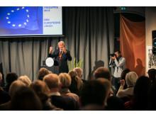 Thorbjørn Jagland holder foredrag om Nobels fredspris 2012.
