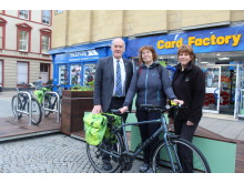 L-R: Cllr George Alexander, Moray Council's Sustainable Transport Officer, Pat Douglass and REAP's Outreach Project Worker for Grow Elgin, Dorothy Allan