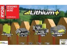 Ryobi Lithium+ batteriteknologien - kollage