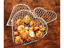 Hjärtan av hönsnät set om 3 st med kastanjer