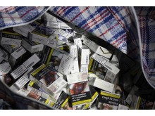 Cigarettes in laundry bag  at the storage unit