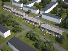 Översiktsillustration av de nya husen i BoKlok Pilkronan, Landskrona.