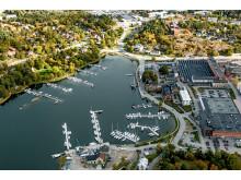 Översiktsbild Gustavsbergs hamn och Farstaviken