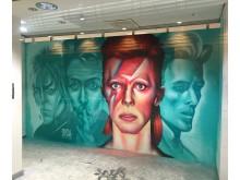 David Bowie-hyllning av gatukonstnären Disk, uppfört i Stockholm 2016.