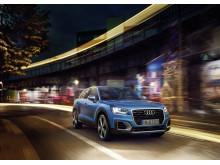 Audi Q2 i Ara Blue forfra
