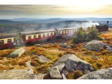 Brockenbahn fører op til toppen af Harzens højeste top, Brocken.
