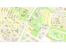 Karta för plats för pressträff den 2 juni - Stadsbruk