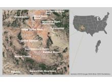 Karta över fältstudier i sydvästra USA