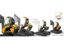 Volvo GaiaX - skisser från designarbetet med det eldrivna minigrävarkonceptet