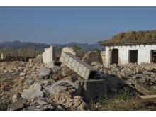 Raserade hus i byn Soksa i södra Nordkorea